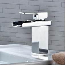 Modern All-Copper Basin Faucet - Waterfall & Rotatable -  Bathroom Counter Basin Faucet