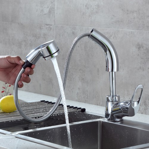 Split hot and cold pull-type sink faucet kitchen multi-function liftable faucet