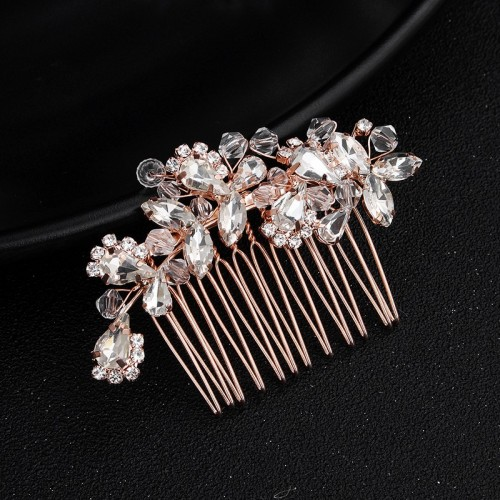 Vintage  rhinestones Crystal Bridal Hair Accessories Rose Gold Hair Comb for Brides Wedding