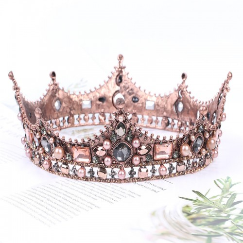 Baroque Princess Crown For Ladies, For weddings, Proms, As Bridal Jewelry, In Vintage Style