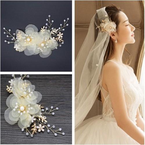 Bride wedding veil Fairy rice silk bead flower headdress bridal tiara wedding dress accessories