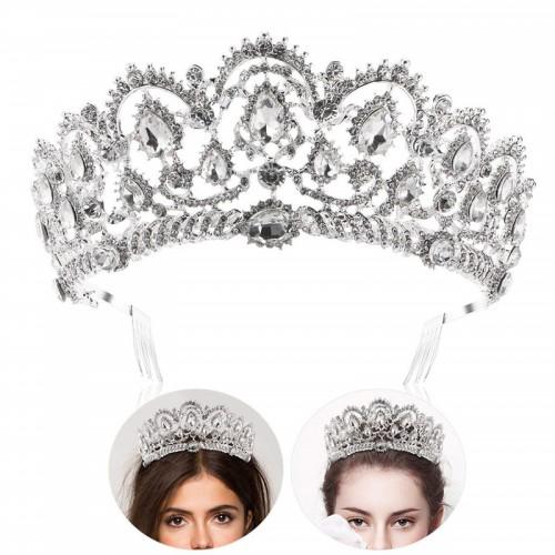 Princess Tiara Crown with Comb, Bridal Wedding Rhinestone Crystal Queen Crown Headband for Wedding Bridal Party Birthday