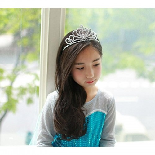 Rhinestone Crystal Tiara-Wedding Bridal Prom Birthday Pegeant Prinecess Crown (Heart) for children