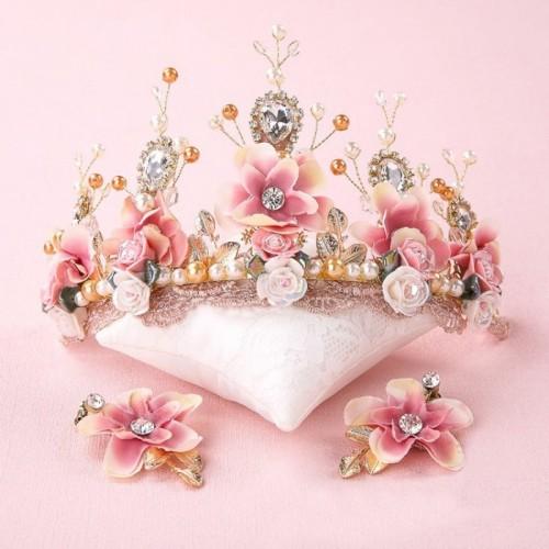 Sweet Pink Ceramic Flower Handmade Beaded Lace Baroque Crown Golden Wedding Hair Headdress