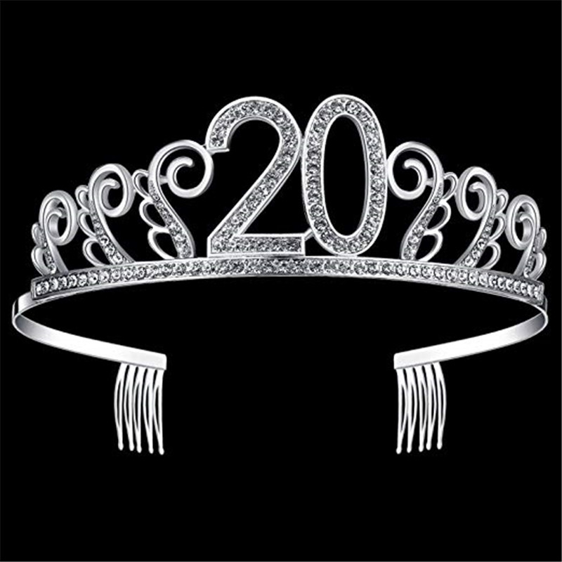48281e5a94 Crystal Tiara Birthday Crown Princess Crown Hair Accessories Silver  Rhinestone Happy 18/ 20/ 21/ 30/ 50/ 60th Birthday