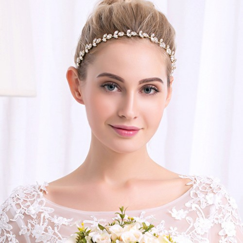 Bridal Crystal Headband with Rhinestone Pearls Flower Design Wedding Hair Accessories
