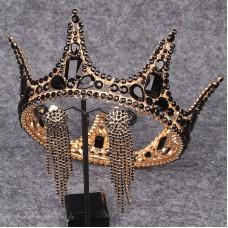 Baroque Bridal Crown Headdress Princess Wedding Rhinestones Elegant Black Crown Earrings Set