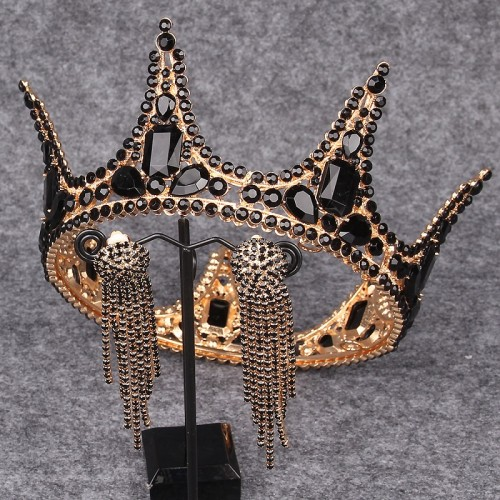 Baroque Bridal Crown Headdress Princess Wedding Rhinestones Elegant Black Crown Earrings Set