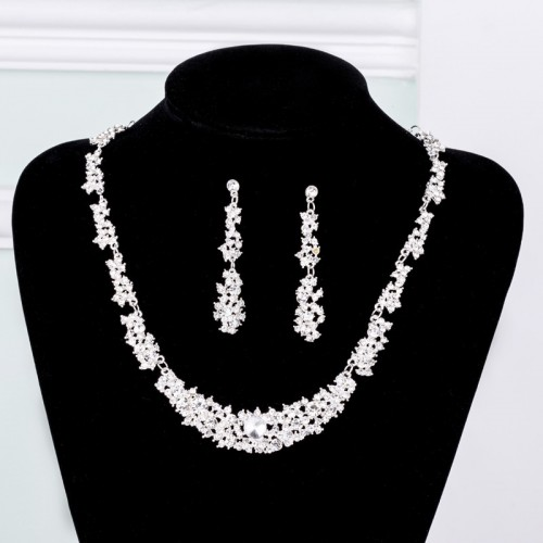 Clear Rhinestone and Alloy Necklace and Earrings Jewelry Set for Wedding, Prom, Bridesmaids or Mother of Bride