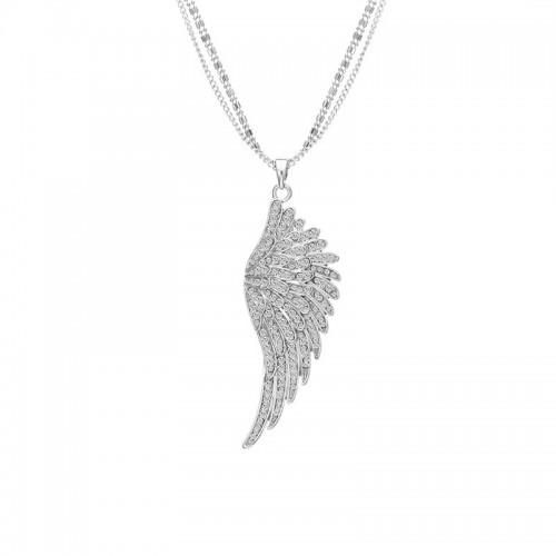Long Crystal Angel Wings Necklace Sweater Chain Clavicle feather necklace