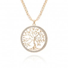 Creative Natural Life Tree hollow Peace Alloy Tree Necklace Accessories Sweater Chain Gift For Women