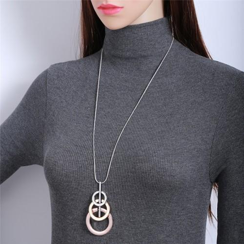 Snake Bone Three-ring Interlocking Long Necklace Round Alloy Sweater  Chain Pendant