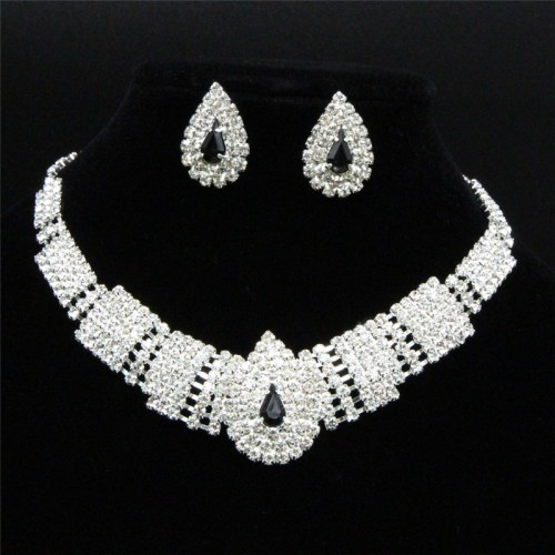 Affordable Wedding Jewelry Royal Clear Rhinestone Cascade Earrings Silver Necklace Set