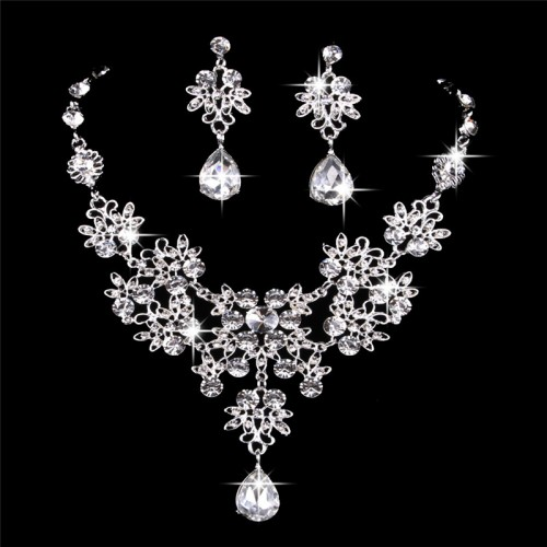 Bridal Butterfly water drop Necklace and Earrings Jewelry Set Gifts fit with Wedding Dress