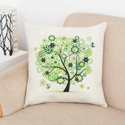 "Idyllic creative life tree green tree car pillow home decoration linen pillow,18"" x 18"""