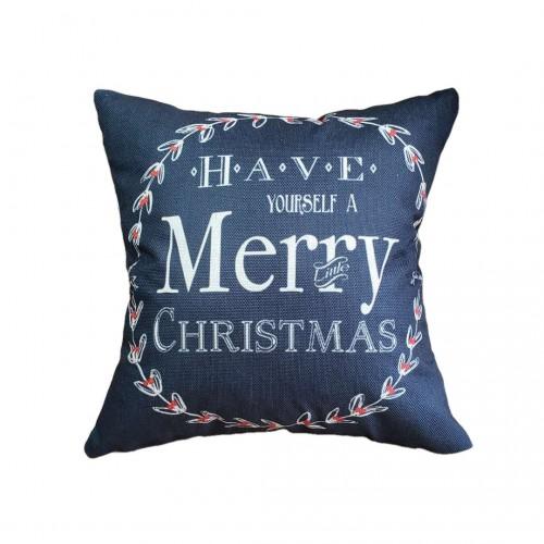 "Christmas Happy New Year Pillow Cartoon Linen Pillow Sofa Pillow,18"" x 18"""