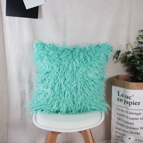 New Luxury Series Style  Long Curly Wool Faux Fur Cushion / Pillow & Cushion 18 x 18 In