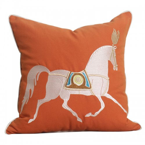 Simple Modern Embroidery Horse Pillow Bedroom Living Room Sofa Cushion Car Office Cushion