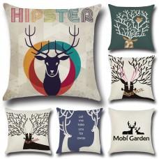 Christmas Elk Christmas Pillow Compound Flax Mildew Sweat Drop Pillow