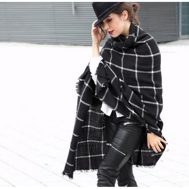 Women Winter Scarf Warm Cozy Tartan Wrap Oversized Shawl Cape Acrylic With Hook