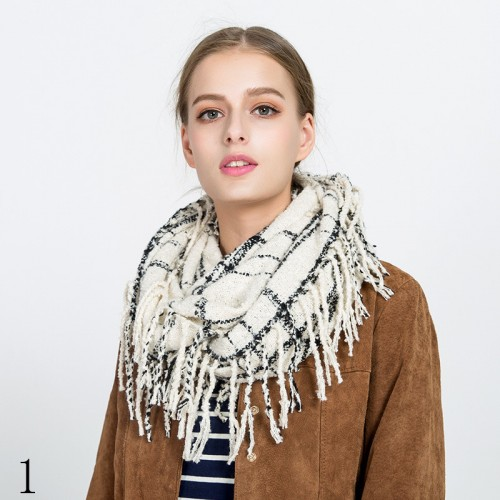 ladies plaid imitation cashmereAutumn and winter tassel dual-use warm circle scarf