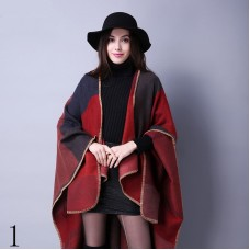 Women's Printed Shawl Wrap Fashionable Open Front Poncho Cape Coat