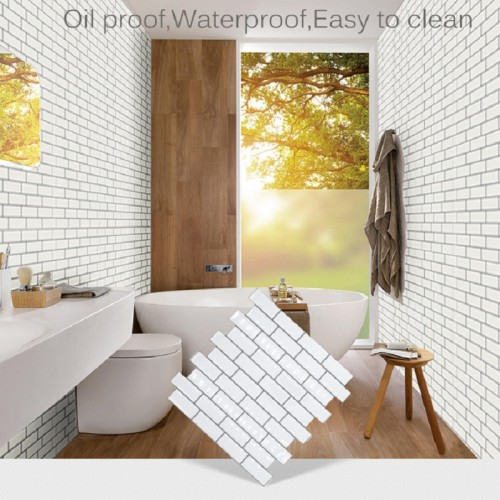 Decorative Self-Adhesive Wallpaper white Brick Decoration Printed Stick Paper Easy to Apply Peel Stick waterproof Wallpaper ,9.8*9.8inch