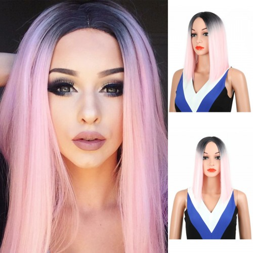Fashion pink gradient girls long straight hair