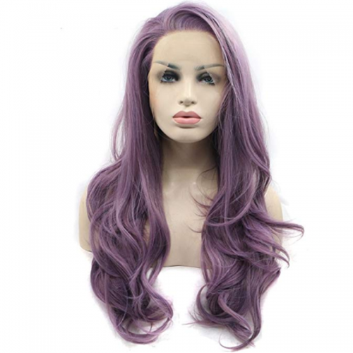 Synthetic Lace Front Wig Women's Natural Wave Purple Side Part Synthetic Hair Heat Resistant / Natural Hairline Purple Wig Long Lace Front Purple Sylvia